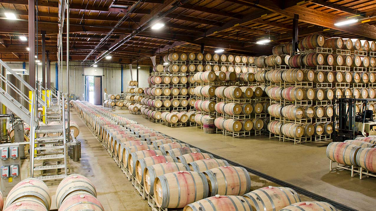 An expansive view of the Rodney Strong barrel room full of barrels stacked across the floor and up to the ceiling